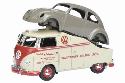 Schuco PR43 1:43 Volkswagen T1a Midlands Centre met VW Kever