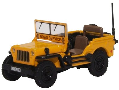 Oxford 1:76 Jeep Willys MB AA Road Service geel