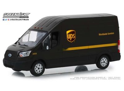 Greenlight 1:43 Ford Transit LWB Hoog Dak United Parcel Service ( UPS ) Worldwide Services bruin