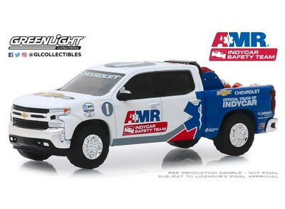 Greenlight 1:64 Chevrolet Silverado 2019 AMR Indycar Safety Team with safety equipment in truck bed