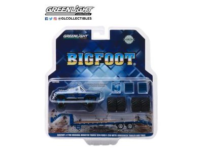 Greenlight 1:64 Ford F250 1974 Bigfoot Monster Truck on Gooseneck Trailer with regular and replacement 66 Tires