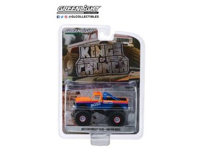 Greenlight 1:64 Chevrolet K10 1972 Monster Truck AM / PM Boss Kings of Crunch series 3 blauw oranje