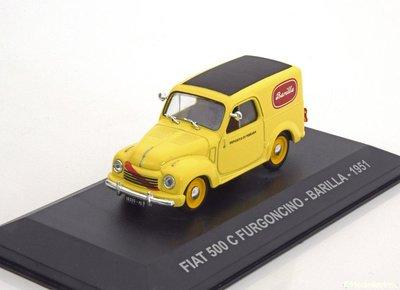 Atlas 1:43 Fiat 500 C Furgoncino Barilla 1951 geel