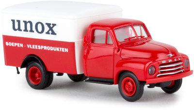 Brekina 1:87 Opel Blitz UNOX Soep Vleesproducten Nederland rood wit