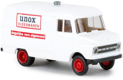 Brekina 1:87 Opel Wagen B UNOX Vleeswaren Dagelijks vers afgeleverd Nederland wit
