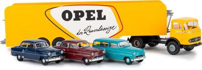 Brekina 1:87 Mercedes LPS 338 Opel Autotransport-SZ met 3 Opel Olympia
