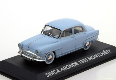 Atlas 1:43 Simca Aronde 1300 Monthery 1958 lichtblauw in vitrine