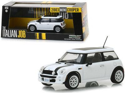 Greenlight 1:43 Mini Cooper S 2003 The Italian Job 2003 wit met zwart