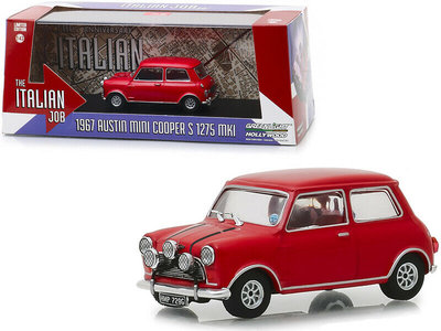 Greenlight 1:43 Austin Mini Cooper S 1275 MKI 1967 The Italian Job 1969 rood