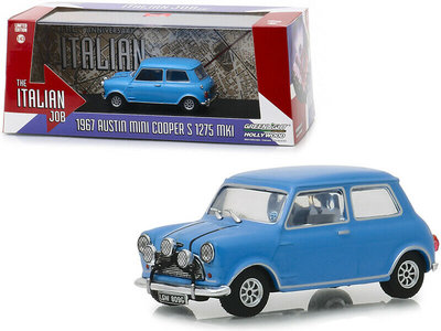 Greenlight 1:43 Austin Mini Cooper S 1275 MKI 1967 The Italian Job 1969 blauw
