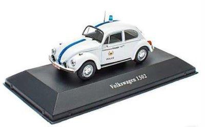 Atlas 1:43 Volkswagen Beetle 1302 Politie 1970 wit, Police Cars Collection