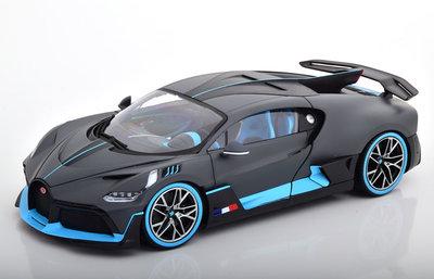 Bburago 1:18 Bugatti Divo sport 2018 matt grijs / blauw
