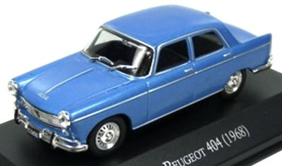 Atlas 1:43 Peugeot 404 1968 blauw, in blisterverpakking