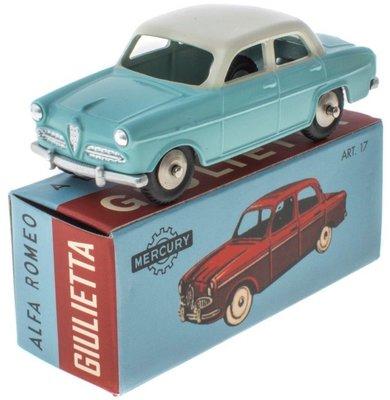 Mercury 1:48 Alfa Romeo Giulietta lichtblauw met witte dak, Edition Atlas