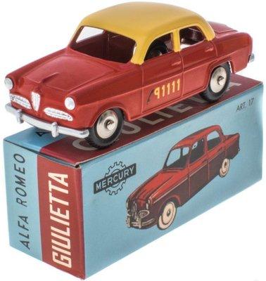 Mercury 1:48 Alfa Romeo Giulietta Bern Taxi rood met gele dak, Edition Atlas