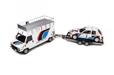 Otto Mobile 1:18 Peugeot Talbot Sport met Peugeot 205 en aanhanger A. Vatanen / T. Harryman