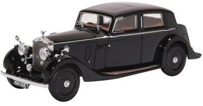 Oxford 1:43 Rolls Royce 25/30 THRUPP & MABERLEY zwart in vitrine