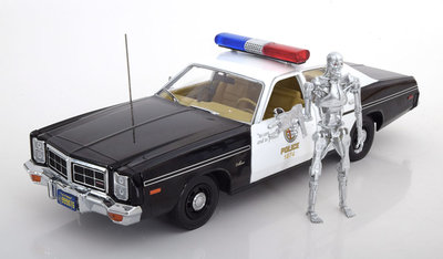 Greenlight 1:18 Dodge Monaco 1977 Metropolitan Police with T-800 Endoskeleton Figure The Terminator film 1984