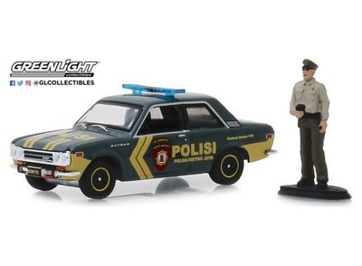 Greenlight 1:64 Datsun 510 Indonesia Polisi Korps Sabhara with figure