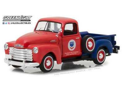 Greenlight 1:43 Chevrolet 3100 pick-up Standard Oil Running on Empty series 1 1953 rood blauw