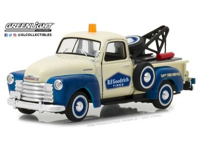 Greenlight 1:43 Chevrolet 3100 Pick-up Tow Truck Bfgoodrich Service Running on Empty series 1 1953 blauw wit
