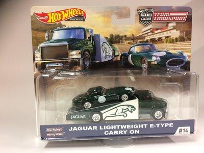 Hotwheels 1:64 Jaguar Lightweight E Type Carry On Team Transport sport groen