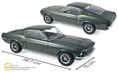 Norev 1:12 Ford Mustang Fastback 1968 - Satin Green metallic, verwacht december 2019