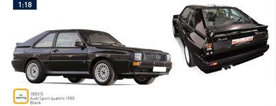 Norev 1:18 Audi Sport Quattro 1985 - Black. Levering 12/2019. te reserveren