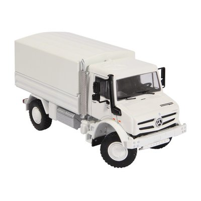NZG 1:50 Mercedes Benz Unimog U5000 wit 2015, in vitrine