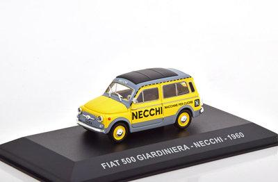 Atlas 1:43 Fiat 500 Giardiniera Necchi 1960 geel grijs in vitrine