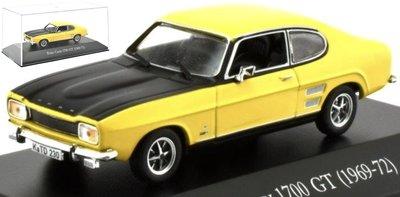 Atlas 1:43 Ford Capri 1700 GT 1969 - 72 geel zwart, in vitrine