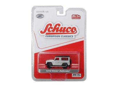Schuco 1:64 Land Rover Defender, silver with black roof. MiJo Exclusives