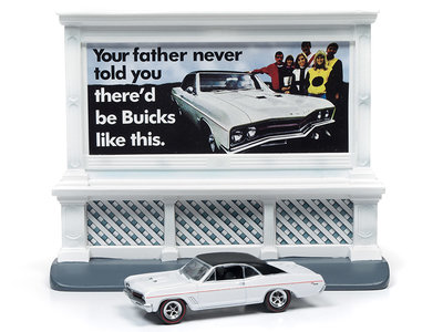 Johnny Lightning 1:64 Buick GS 1967 With City Billboard white, diorama