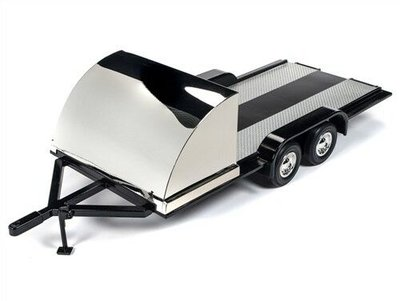 Auto World 1:18 Autotransporter aanhanger, Trailer zwart chrome 2019. American Muscle