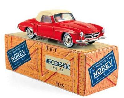 Norev 1:43 Mercedes Benz 190 SL 1956 rood beige. Norev Classic