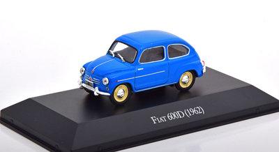 Atlas 1:43 Fiat 600D blauw 1962, in blisterverpakking