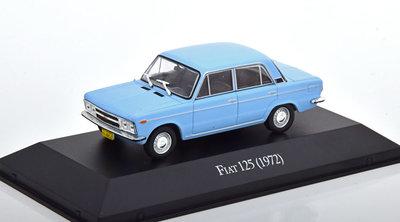 Atlas 1:43 Fiat 125 Limousine 1972 lichtblauw, in blisterverpakking