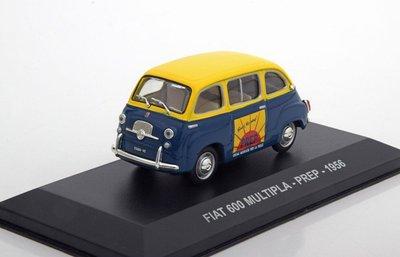 Atlas 1:43 Fiat 600 Multipla Prep 1956 blauw geel, in vitrine