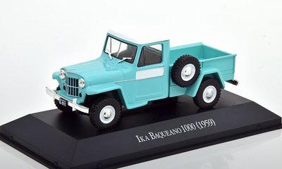 Atlas 1:43 Ika Baquwano 1000 Pickup 1959 Willys Jeep Truck turquoise, in blisterverpakking