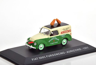 Atlas 1:43 Fiat 500 C Furgoncino Airucchio 1951 groen beige