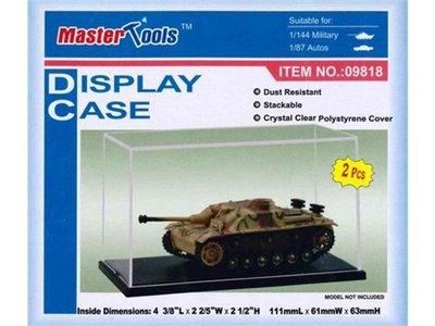 Master Tools / Trumpeter  set van 2 stuks , vitrine, showcase , Display Case 111x61x63 mm (binnenmaten) exc. schaalmodel