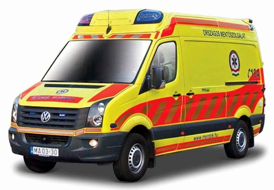 Bburago 1:50 Volkswagen Crafter Ambulance geel