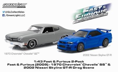 Greenlight 1:43 Chevrolet Chevelle SS en Nissan Skyline Fas