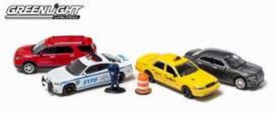 Greenlight 1:64 Diorama New York Traffic Scene set 4 auto's