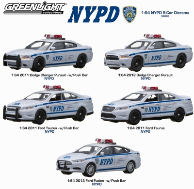 Greenlight 1:64 Diorama NYPD set 5 cars Police New York
