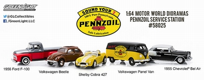 Greenlight 1:64 Diorama Pennzoil Service Station set 5 autos