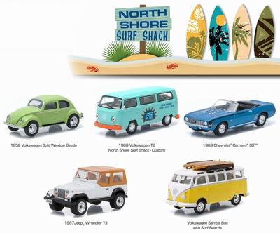 Greenlight 1:64 Diorama set 5 autos North Shore Surf Shack