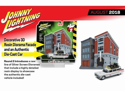 Johnny Lightning 1:64 Cadillac Diorama Ghostbusters Ecto 1A