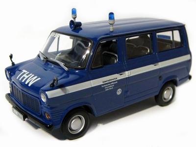 MInichamps 1:43 Ford Transit THW Koln 1971 blauw wit