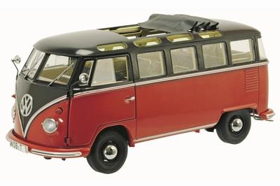 Schuco 1:18 Volkswagen T1b Samba bruin rood